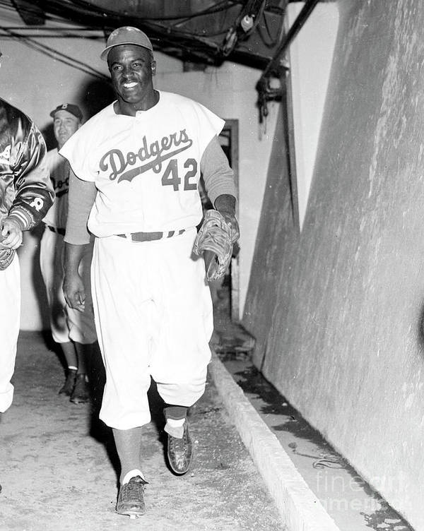 1950-1959 Art Print featuring the photograph Jackie Robinson by Kidwiler Collection