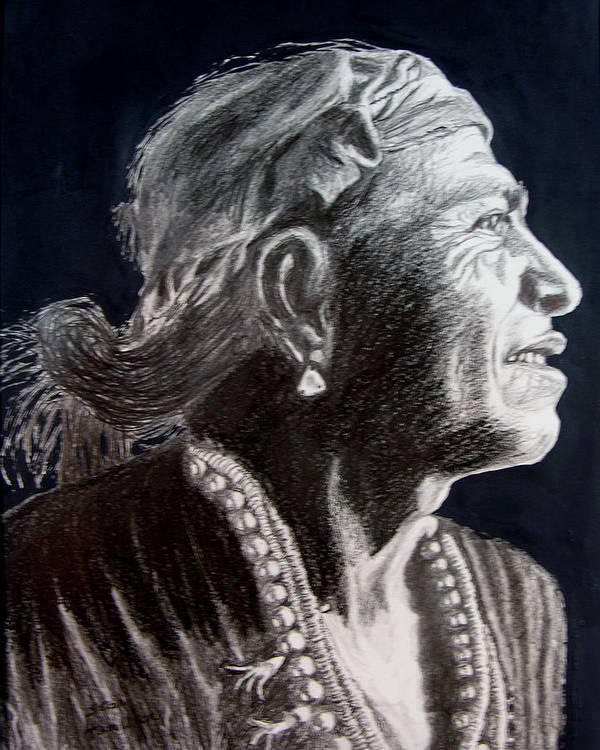 Indian Art Print featuring the drawing Carl Moon by Stan Hamilton