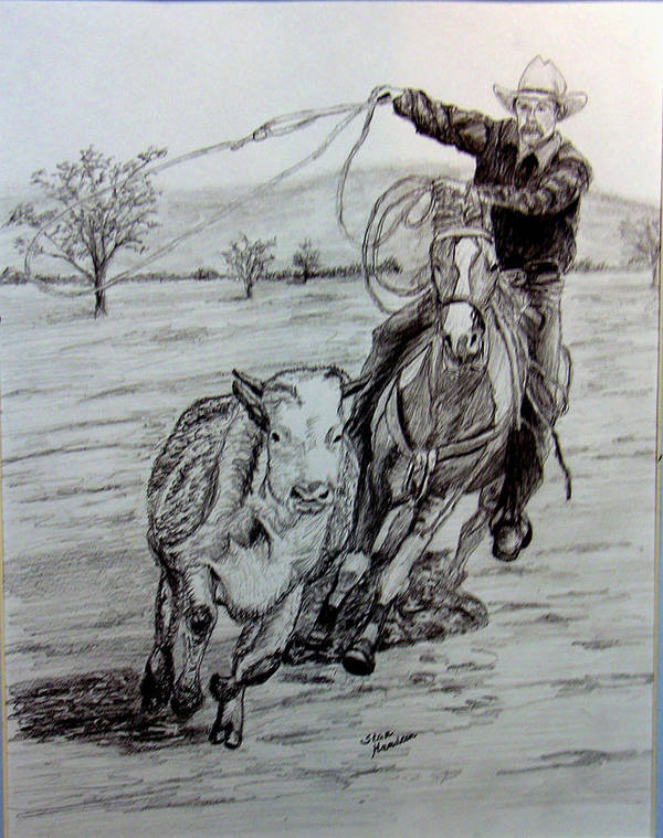 Cowboy Art Print featuring the drawing Ranch Work by Stan Hamilton