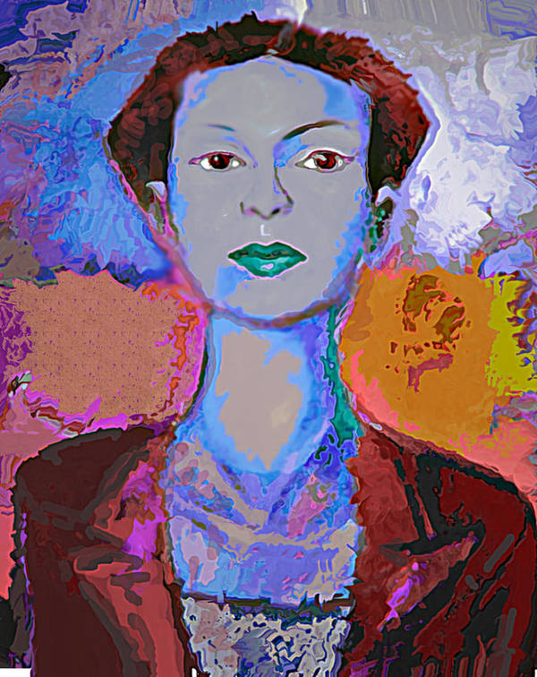 Portrait Art Print featuring the mixed media Blue Nev by Noredin Morgan