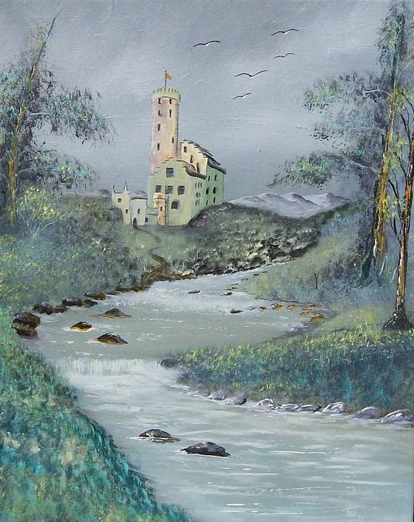 Castle Art Print featuring the painting Castle By Stream by Tony Rodriguez