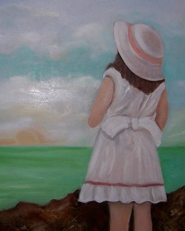 Children Art Print featuring the painting Girl On The Beach by Martha Mullins