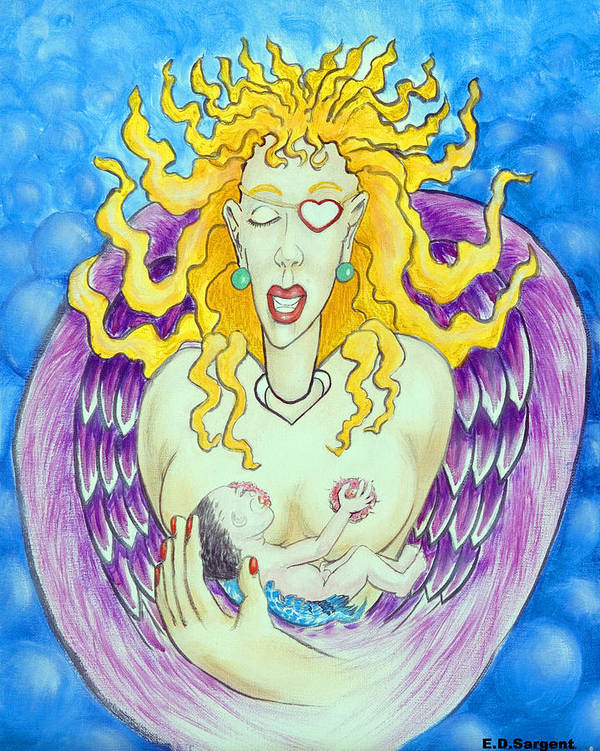 Heart Art Print featuring the painting Nursing Angel by Eddie Sargent