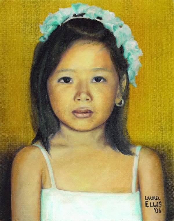 Portrait Art Print featuring the painting The Flower Girl by Laurel Ellis