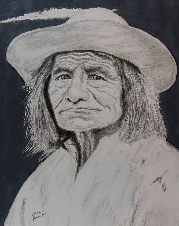 Graphite Art Print featuring the drawing Unknown Indian Vi by Stan Hamilton