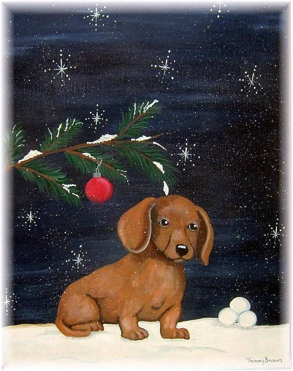 Dachshund Art Print featuring the painting Winter by Tammy Brown