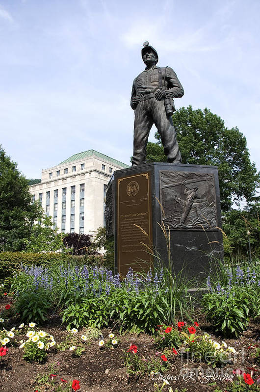 West Virginia Coal Miner Statue Art Print featuring the photograph West Virginia Coal Miner by Thomas R Fletcher