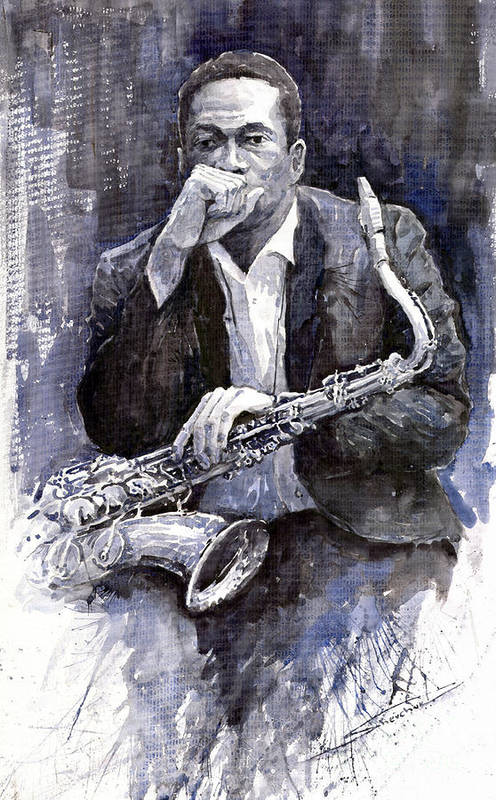 Jazz Art Print featuring the painting Jazz Saxophonist John Coltrane black by Yuriy Shevchuk