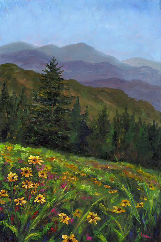 Wildflowers On The Mountain Hillside Of Blue Ridge Mountains Of Western North Carolina Near Ashevill Art Print featuring the painting Appalachian Color by Jeff Pittman