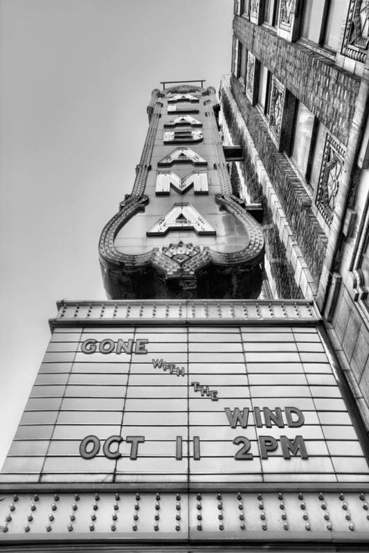 The Alabama Theater Art Print featuring the photograph Gone With the Wind Black and White by JC Findley