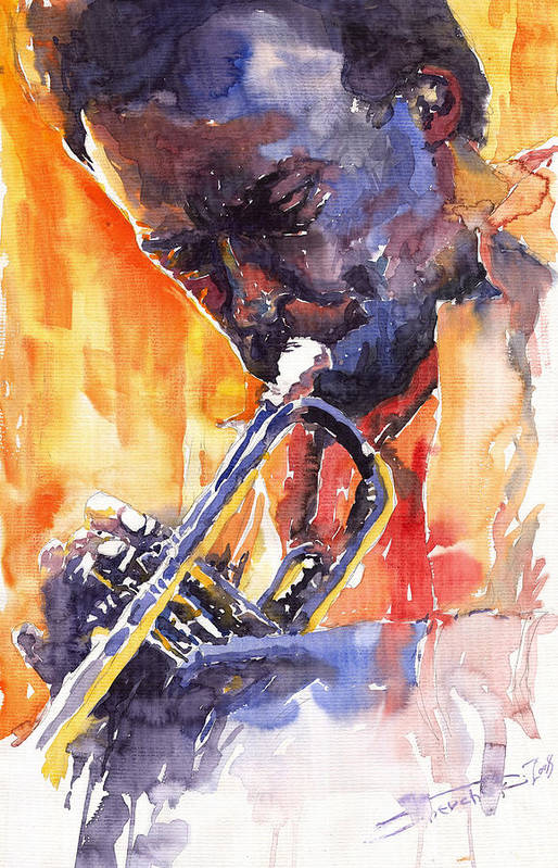 Jazz Art Print featuring the painting Jazz Miles Davis 9 Red by Yuriy Shevchuk