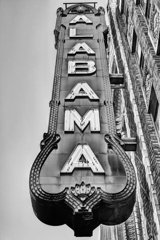 The Alabama Theater Art Print featuring the photograph The Alabama Theater in Black and White by JC Findley