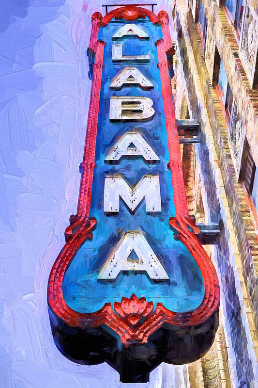 The Alabama Theater Art Print featuring the photograph The Alabama Theater by JC Findley