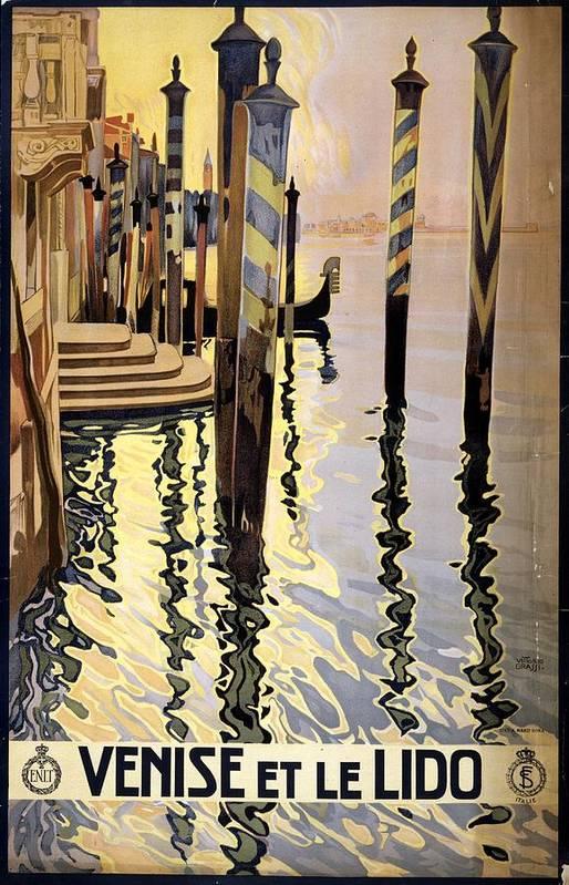 Venise Et Le Lido - Venice, Italy - Retro travel Poster - Vintage Poster by Studio Grafiikka