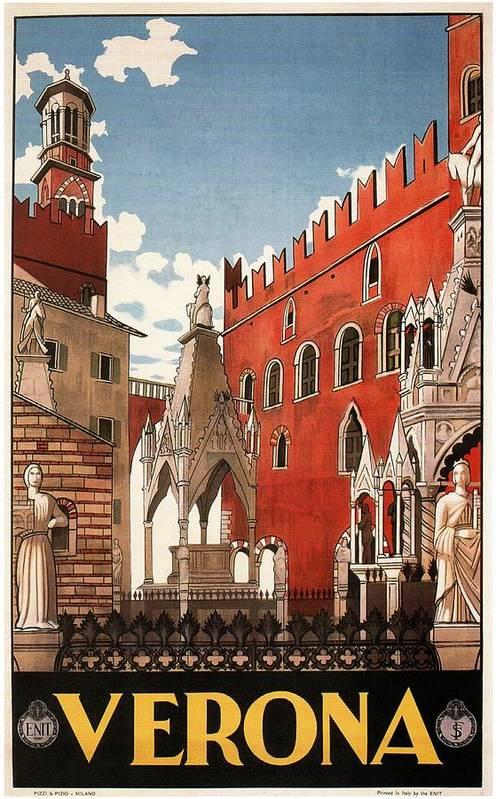 Verona, Italy - Building and monuments - Retro travel Poster - Vintage Poster by Studio Grafiikka