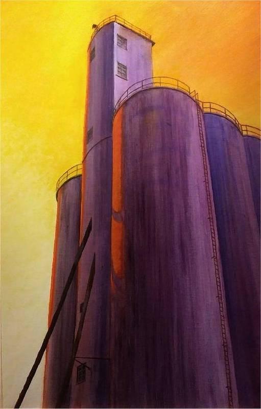Silo Art Print featuring the painting Garfield Silo by Leonard Heid