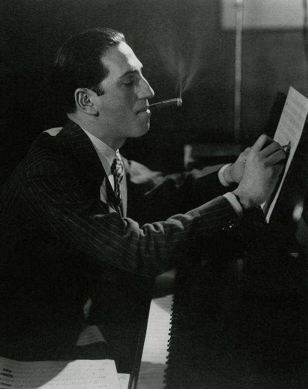 Music Art Print featuring the photograph A Portrait Of George Gershwin At A Piano by Edward Steichen