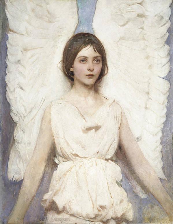 Abbott Handerson Thayer Art Print featuring the painting Angel by Abbott Handerson Thayer