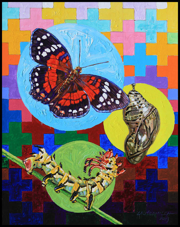 Moth Art Print featuring the painting Born Again by John Lautermilch