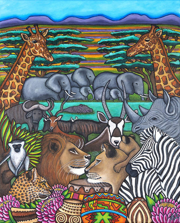 Africa Art Print featuring the painting Colours of Africa by Lisa Lorenz
