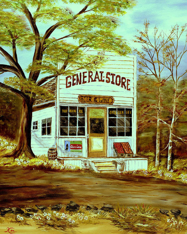 Landscape Art Print featuring the painting General Store 1902 by Kenneth LePoidevin