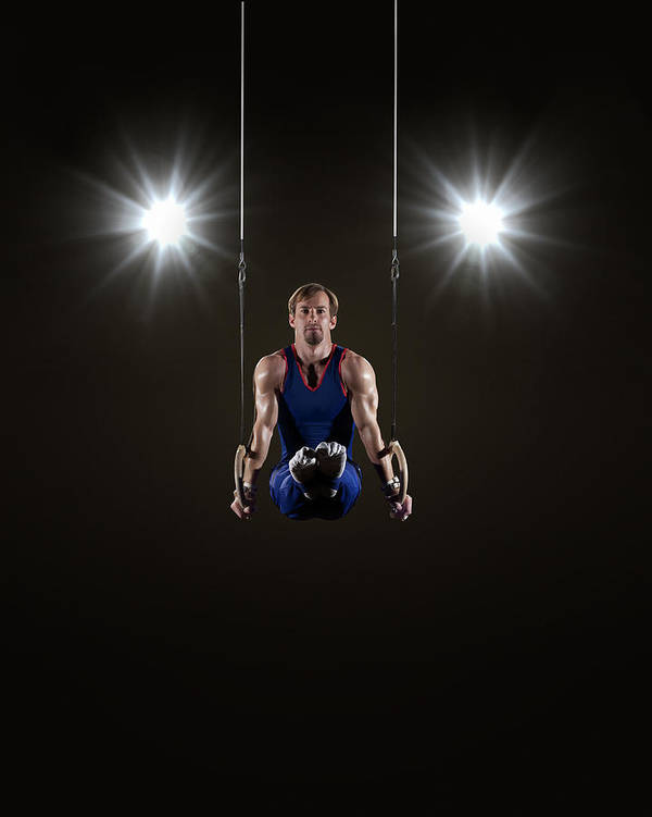 Expertise Art Print featuring the photograph Male Gymnast On Rings by Mike Harrington