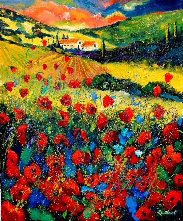 Flowersn Landscape Art Print featuring the painting Poppies in Tuscany by Pol Ledent