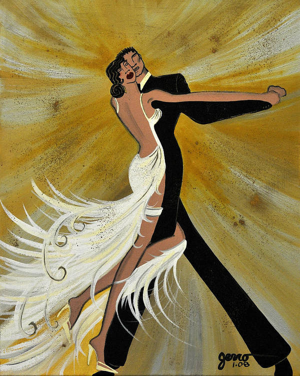 Ballroom Art Print featuring the painting Ballroom Dance by Helen Gerro