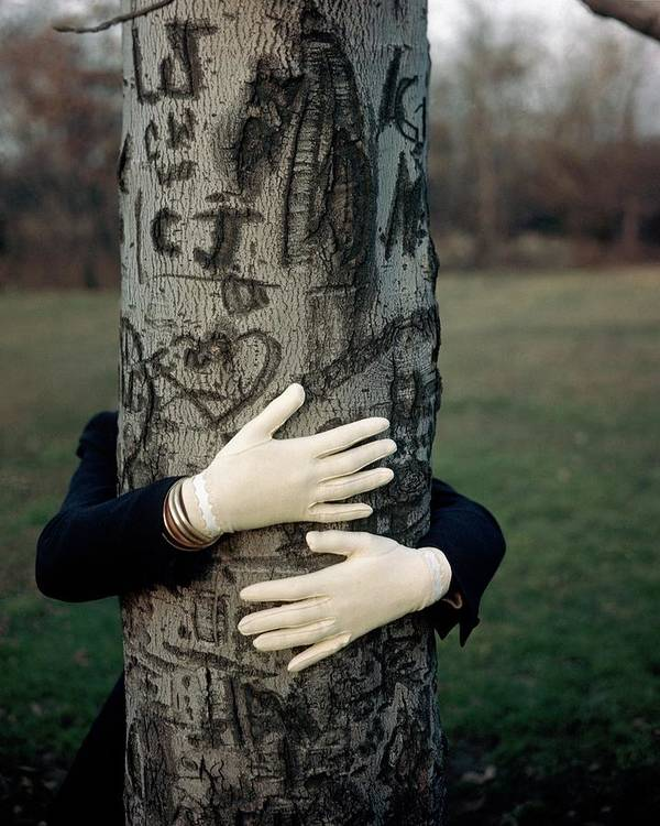 Fashion Art Print featuring the photograph A Model Hugging A Tree by Frances Mclaughlin-Gill