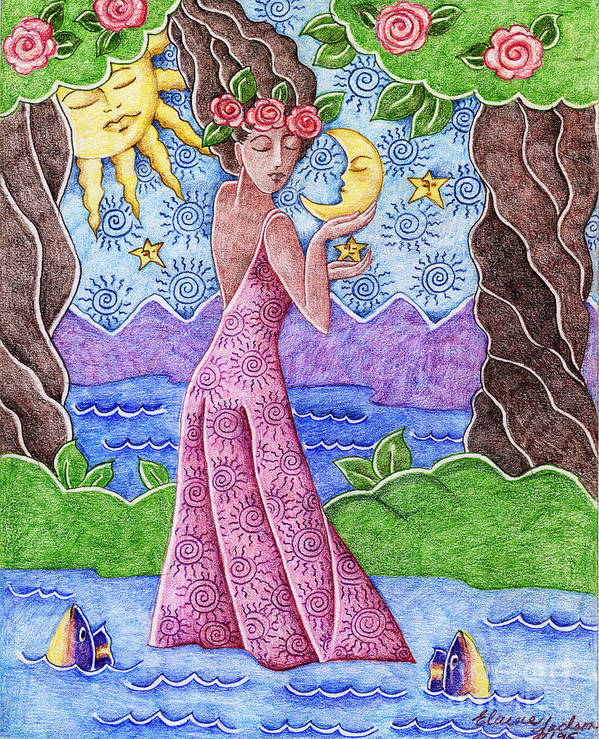 Figurative Art Print featuring the drawing Adorable Moon by Elaine Jackson