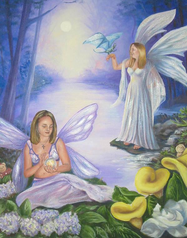 Fairies Art Print featuring the painting Alyssa and Victoria by Anne Kushnick