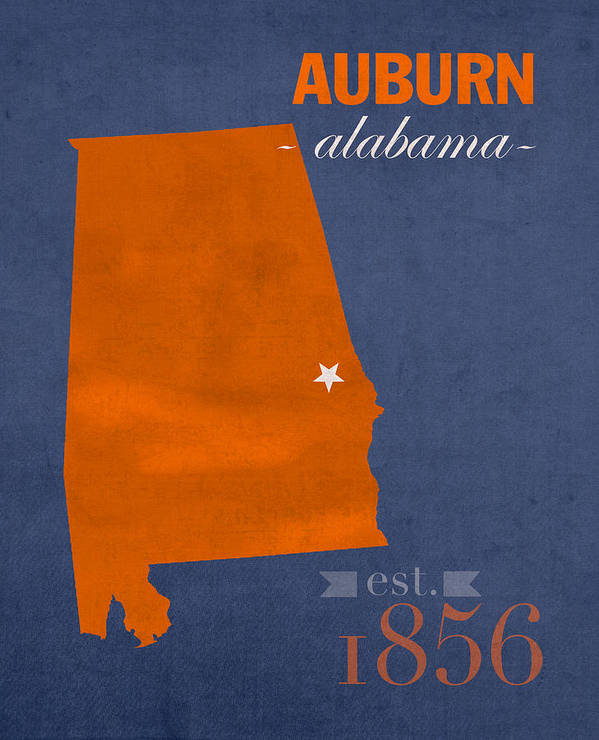 Auburn University Art Print featuring the mixed media Auburn University Tigers Auburn Alabama College Town State Map Poster Series No 016 by Design Turnpike