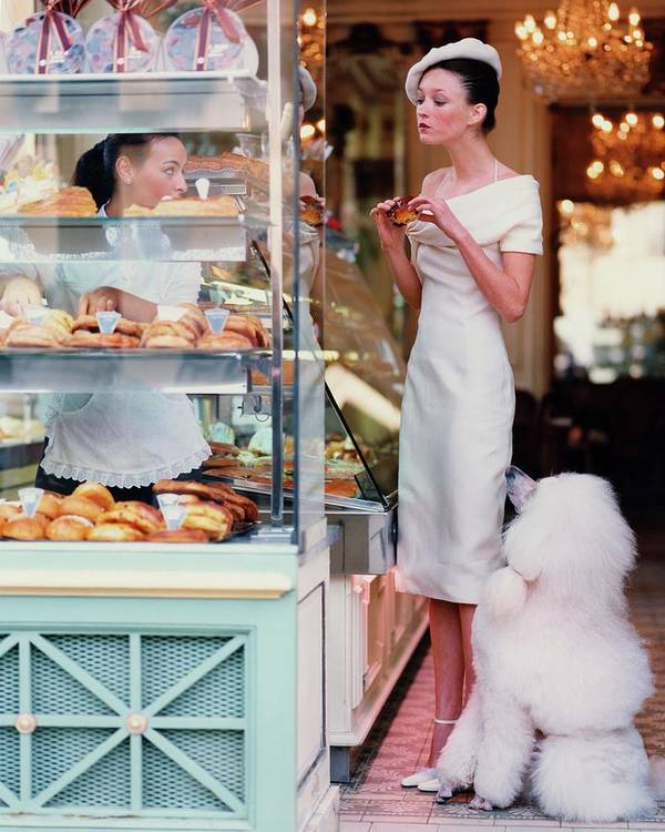 Accessories Art Print featuring the photograph Audrey Marnay At A Patisserie With A Poodle by Arthur Elgort