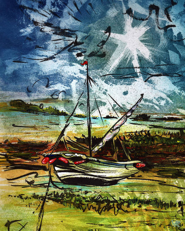 Seascape Art Print featuring the mixed media Awaiting the Tide by William Rowsell