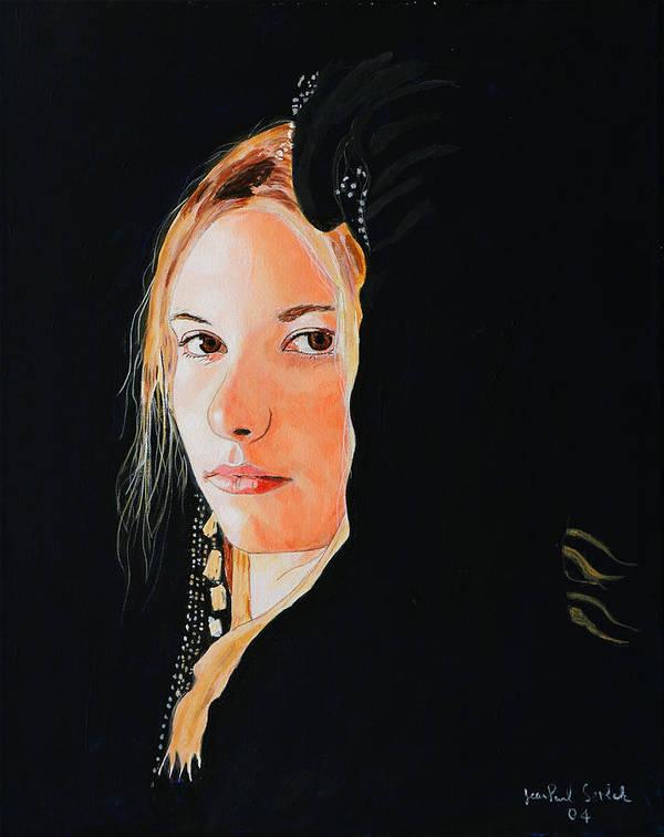 Black Princess Art Print featuring the painting Black Princess - Eyes of Fire by Jean-Paul Setlak