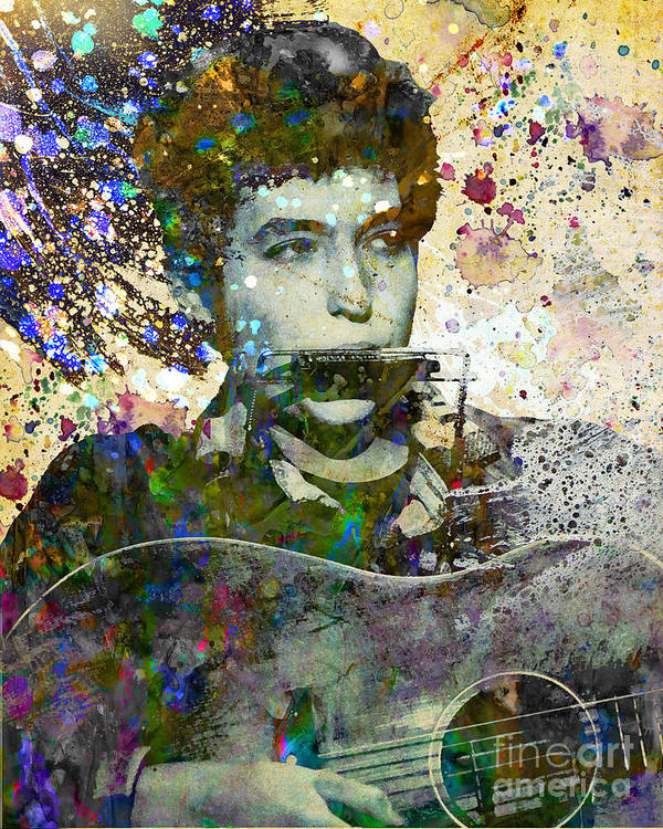 60s Art Print featuring the painting Bob Dylan Original Painting Print by Ryan Rock Artist