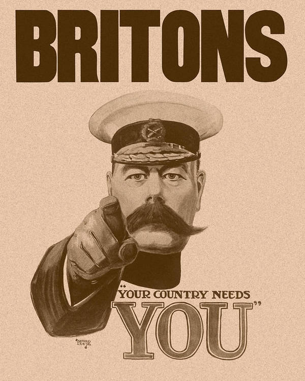 Wwi Art Print featuring the painting Britons Your Country Needs You by War Is Hell Store
