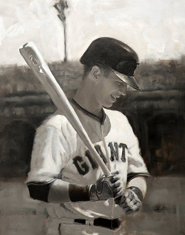 Buster Art Print featuring the painting Buster Posey - Quiet Leader by Darren Kerr