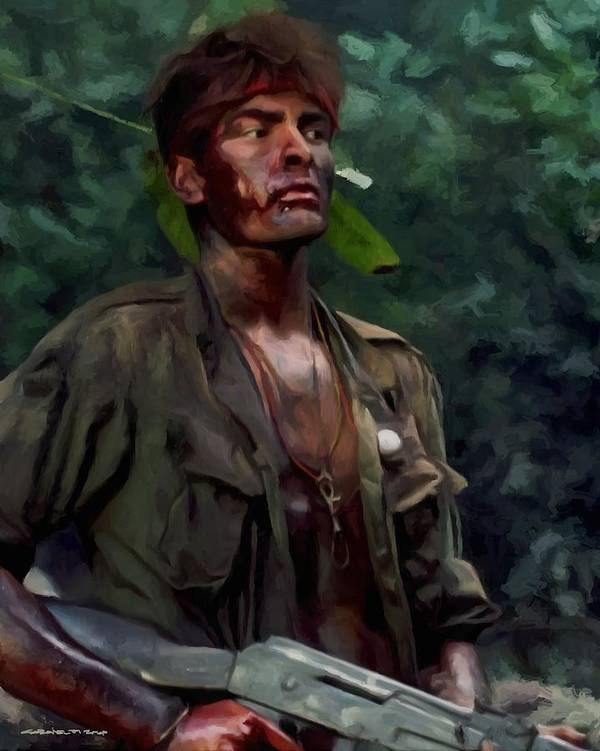 Platoon Art Print featuring the digital art Charlie Sheen in Platoon by Gabriel T Toro