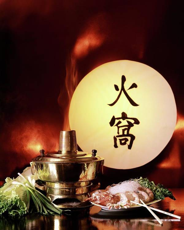 Food Art Print featuring the photograph Chinese Food Against A Backgroup Of Flames by Fotiades