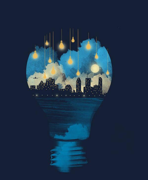 Surreal Art Print featuring the digital art City lights by Neelanjana Bandyopadhyay