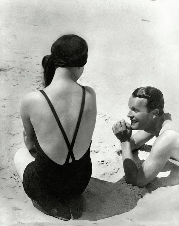 Outdoors Art Print featuring the photograph Couple On A Beach by George Hoyningen-Huene