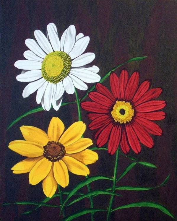 Daisy Flowers Art Print featuring the painting Daisy Mae by Brandy House