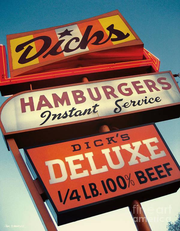 Burgers Art Print featuring the digital art Dick's Hamburgers by Jim Zahniser