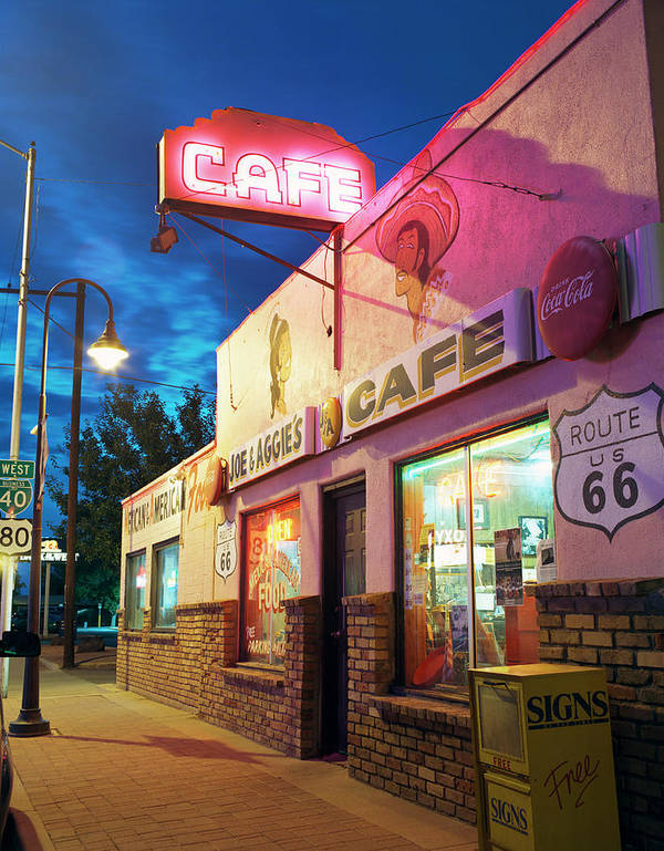 Shadow Art Print featuring the photograph Diner Along Route 66 At Dusk by Gary Yeowell