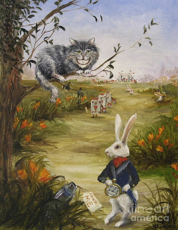 Alice In Wonderland Art Print featuring the painting Down a Rabbit Hole by Stella Violano