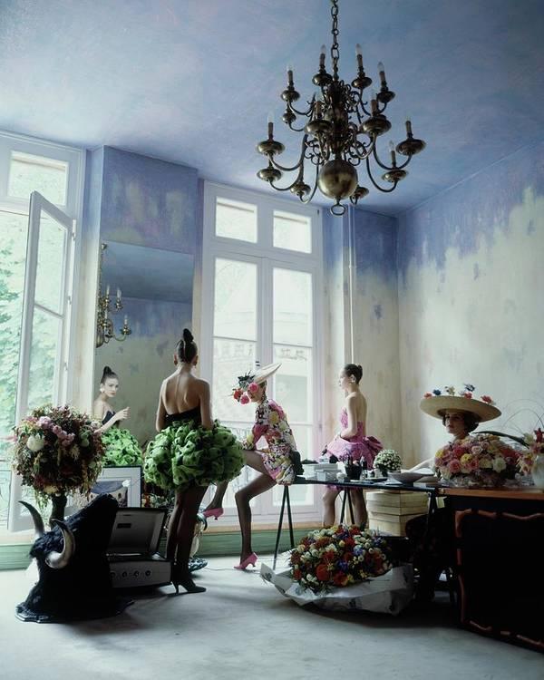Fashion Art Print featuring the photograph Four Models Inside Christian Lacroix's Studio by Arthur Elgort