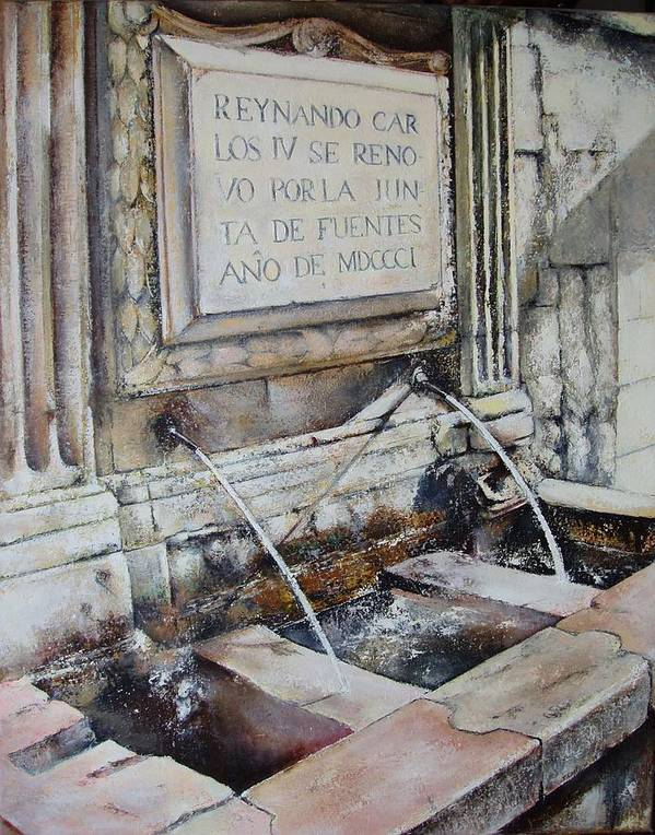 Fuente De San Martin. Leon Art Print featuring the painting Fuente de San Martin by Tomas Castano