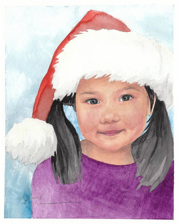 <a Href=http://miketheuer.com Target =_blank>www.miketheuer.com</a> Girl In Santa Hat Watercolor Portrait Art Print featuring the painting Girl In Santa Hat Watercolor Portrait by Mike Theuer