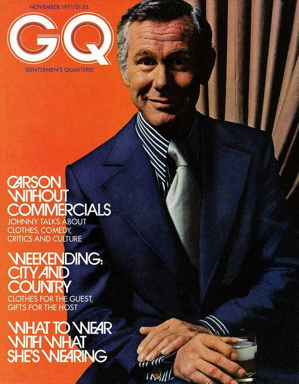Entertainment Art Print featuring the photograph Gq Cover Of Johnny Carson Wearing Suit by Bruce Bacon